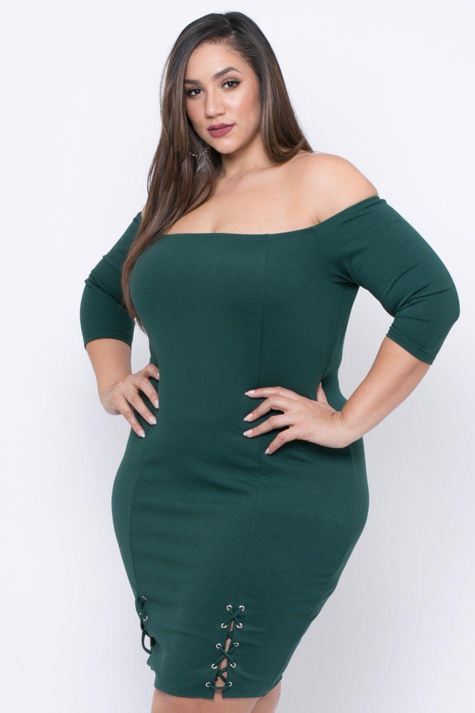 a2f2622c472 Plus Size Malory Lace Up Dress - Green