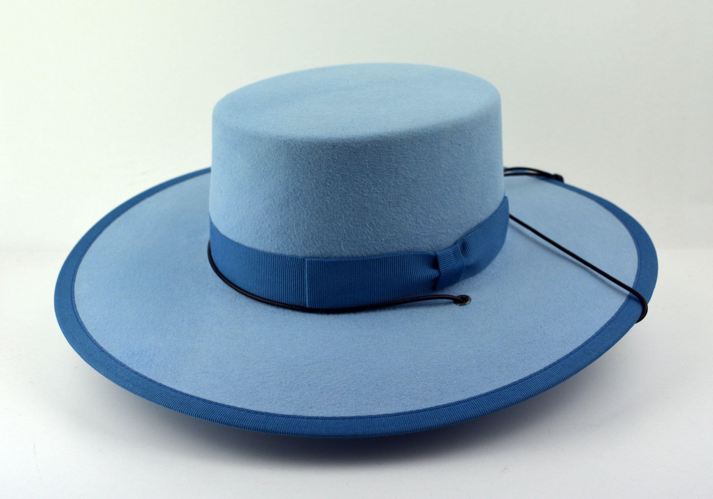 Bolero Hat The Gaucho Light Blue Fur Felt Flat Crown Wide Etsy In 2020 Wide Brim Hat Men Black Wide Brim Hat Blue Fur