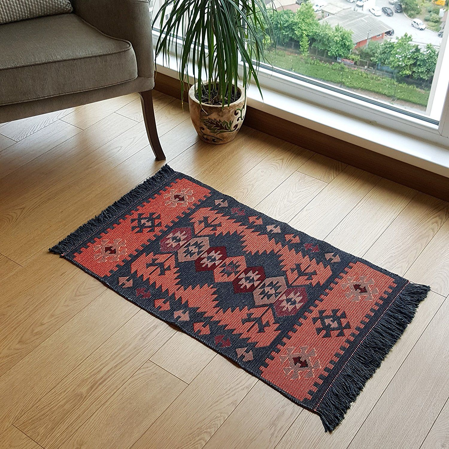 Modern bohemian style small area rug 2 x 3 feet washable natural dye colors two sided reversable perfect for kitchen hallway bathroom bedroom