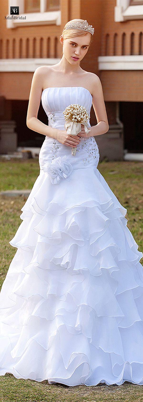 Elegant organza satin strapless neckline ruffled aline wedding
