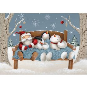 XR28 Sleeping Friends £3.75 Pack of 8 flittered Christmas cards, with 100 gsm, 100% recycled, white envelopes. Message inside reads: Best Wishes for Christmas and the New Year. Visit our website www.turnerscards.co.uk to buy this card or see the complete range.
