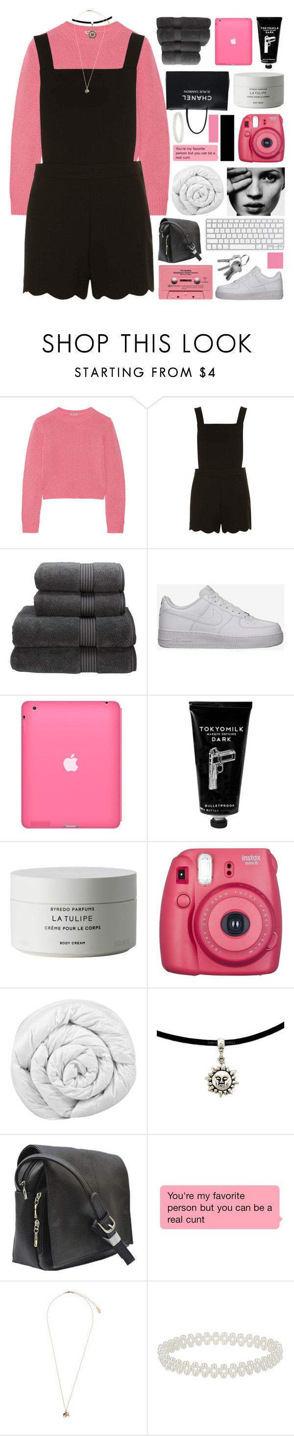 """""""right my wrongs"""" by d-isappear ❤ liked on Polyvore featuring Miu Miu, Dorothy Perkins, Christy, NIKE, TokyoMilk, Byredo, Chanel, Brinkhaus, CASSETTE and Retrò"""