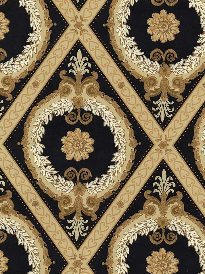Neoclassical Medallion Wallpaper In Black And Gold