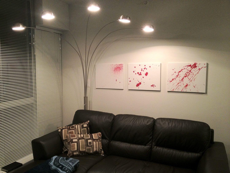 Blood splatter paintings inspired by dexter by bloodsplatter via