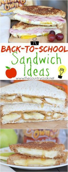 Back-To-School Sandwich Idea recipes from The Country Cook! Sunrise breakfast sandwich, PB&B (with a special ingredient) and the Pear and cheese sandwich is SO good. Plus, learn the surprising trick to make the perfect grilled cheese sandwich! #LunchBoxCreations #NaturesOwn #sponsored