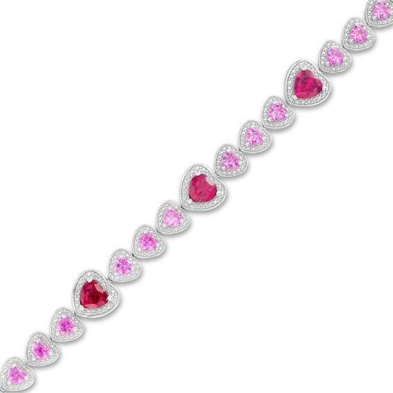 Zales Heart-Shaped Lab-Created Ruby and Pink Sapphire with Diamond Accent Bracelet in Sterling Silver - 7.25