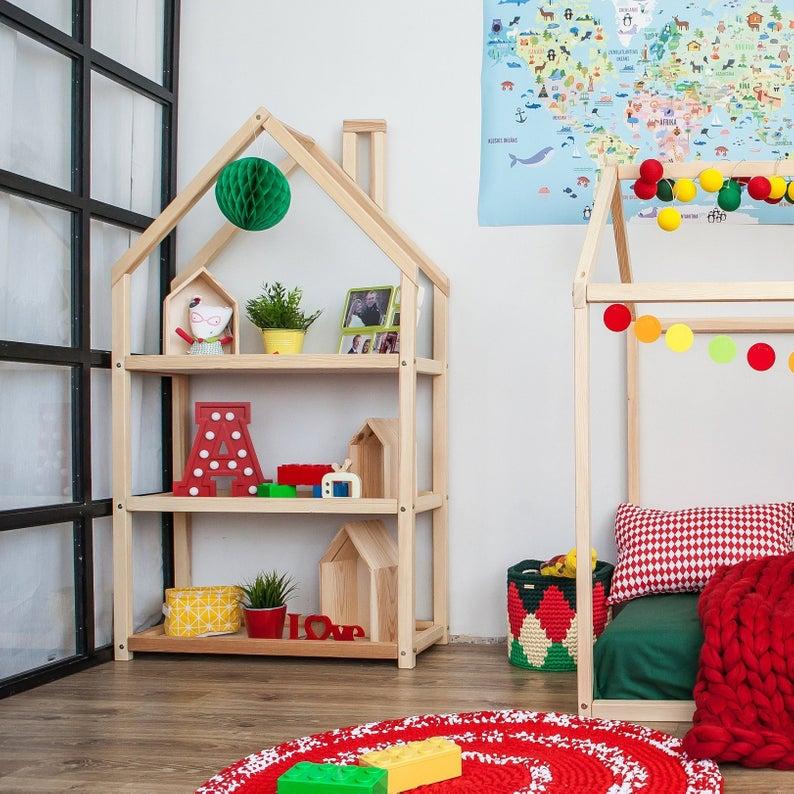 Kids bedroom house shaped shelf or wooden house shelf