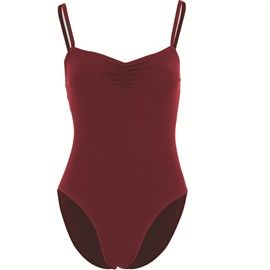 Starlite Clio Dance Leotard. Camisole leotard with ruched front, higher cut legs and middle back keyhole. Sizes - 0, 1, 2, 3A, 3, 4, 5, 6, 7, 8, available in black and plum from www.dancinginthestreet.com