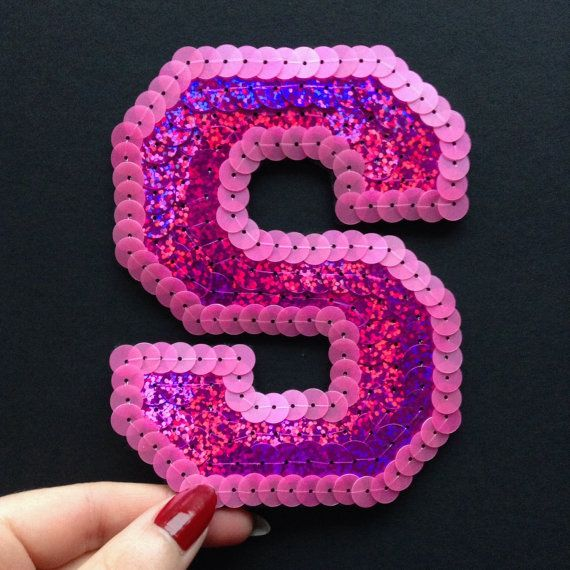 Pink Letters Patch Alphabet Embroidered Applique iron on Patches