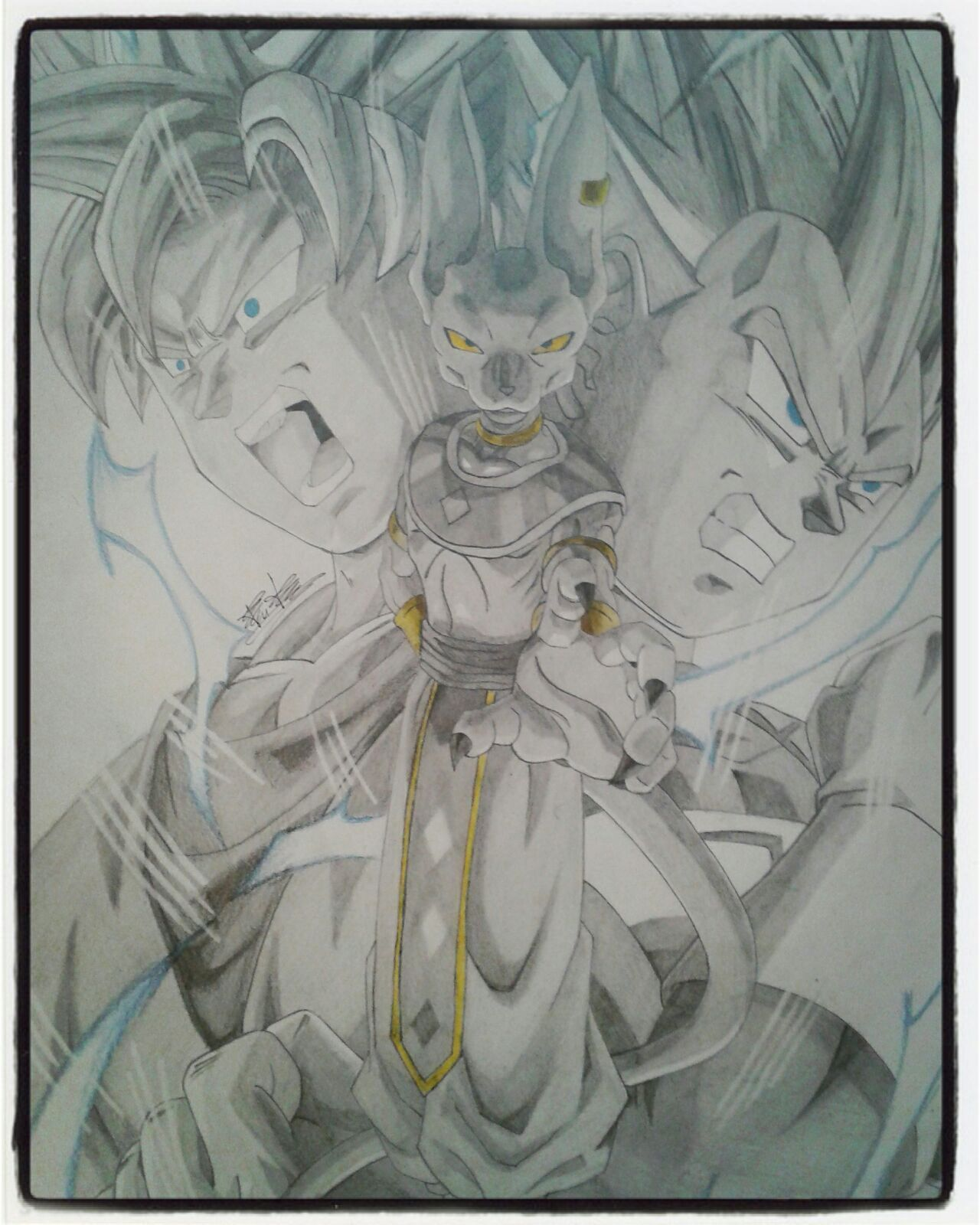 Black and white drawing of Beerus-Sama Goku and Vegeta SSJ. | Dragon ...
