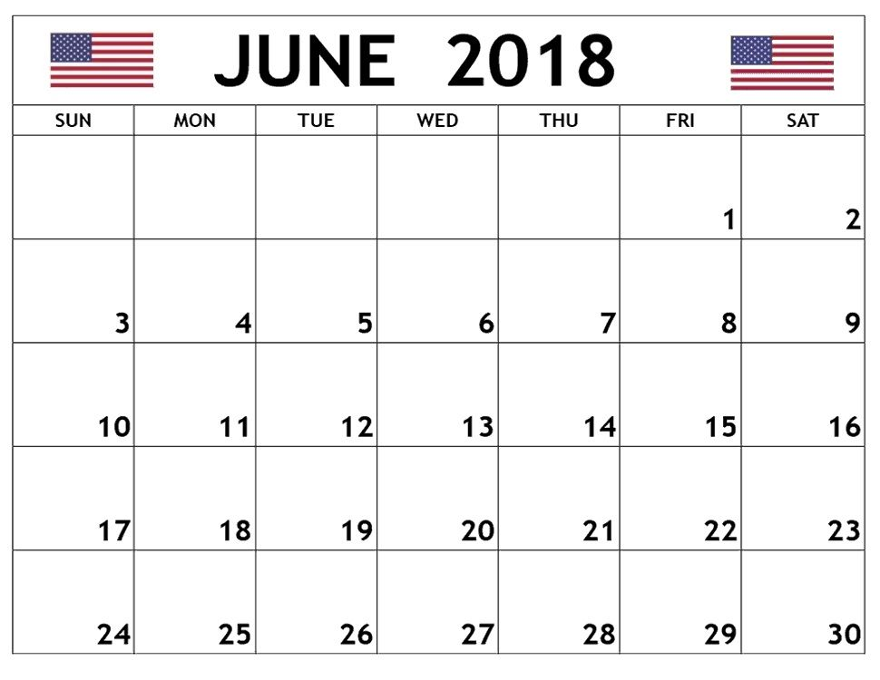 blank june 2018 calendar for united states