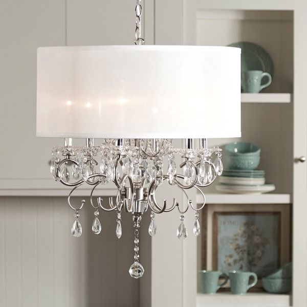 Tribecca Home Silver Mist Hanging Crystal Drum Shade Chandelier Table Metal