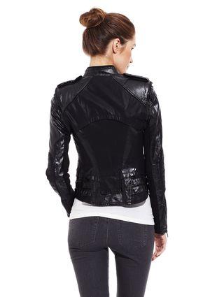 C. LUCE Long Sleeve Side Zip Leather Moto Jacket  b947efbe16