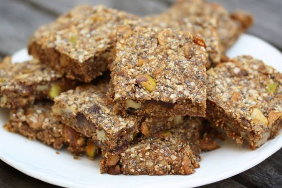 For a snack, try Quinoa Chia Energy Bars. Much more nutritious than bars using oats or wheat, the joint power of quinoa and chia seeds makes these delicious bars the perfect pre- or post-workout snack or on-the-go breakfast. Make a whole batch of them and keep them on-hand; it'll make it easier to skip grab-and-go snacks when you have homemade ones that taste so good!