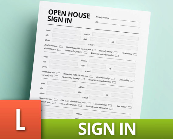 Open House Sign In Template Real Estate Template Realtor Sheet - Template for selling home