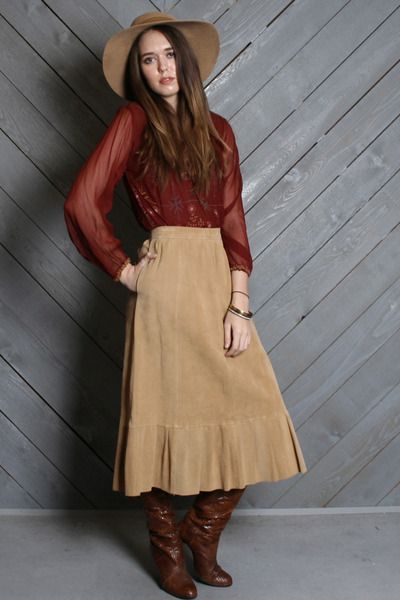 Vintage 70s Faux Suede Ultra Suede Midi Skirt
