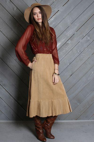 Vintage 70s High Waist Suede Leather Midi Skirt