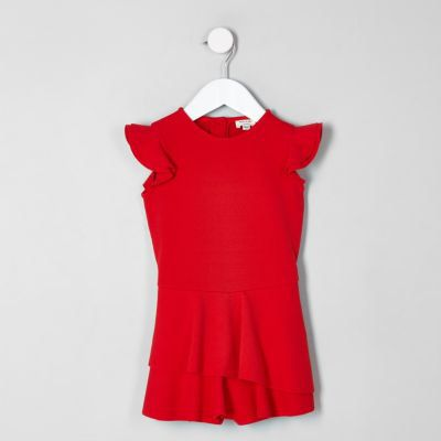 97ec5284102 Checkout this Mini girls red skort frill playsuit from River Island ...