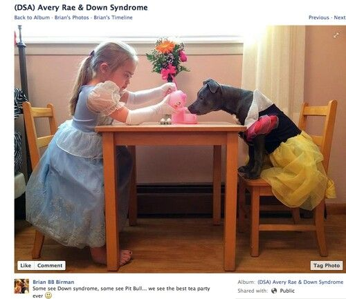 Pit Bull Chat| Some see Down syndrome, some see pit bull.....we see the best tea party ever! — with Miguel Liberio Cervantes and Miguel Cevantes