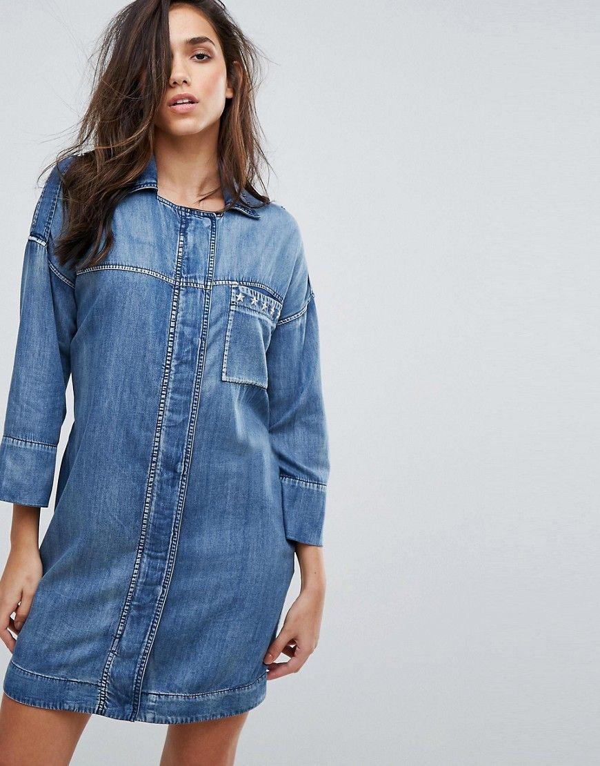 bf38f1c332 REPLAY MILITARY DENIM DRESS WITH STUD DETAIL - BLUE.  replay  cloth ...