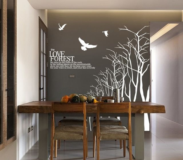 Love Forest Wall Sticker For Dining Room Tree Branch Wall Decal Winter Tree Wall  Decals Large