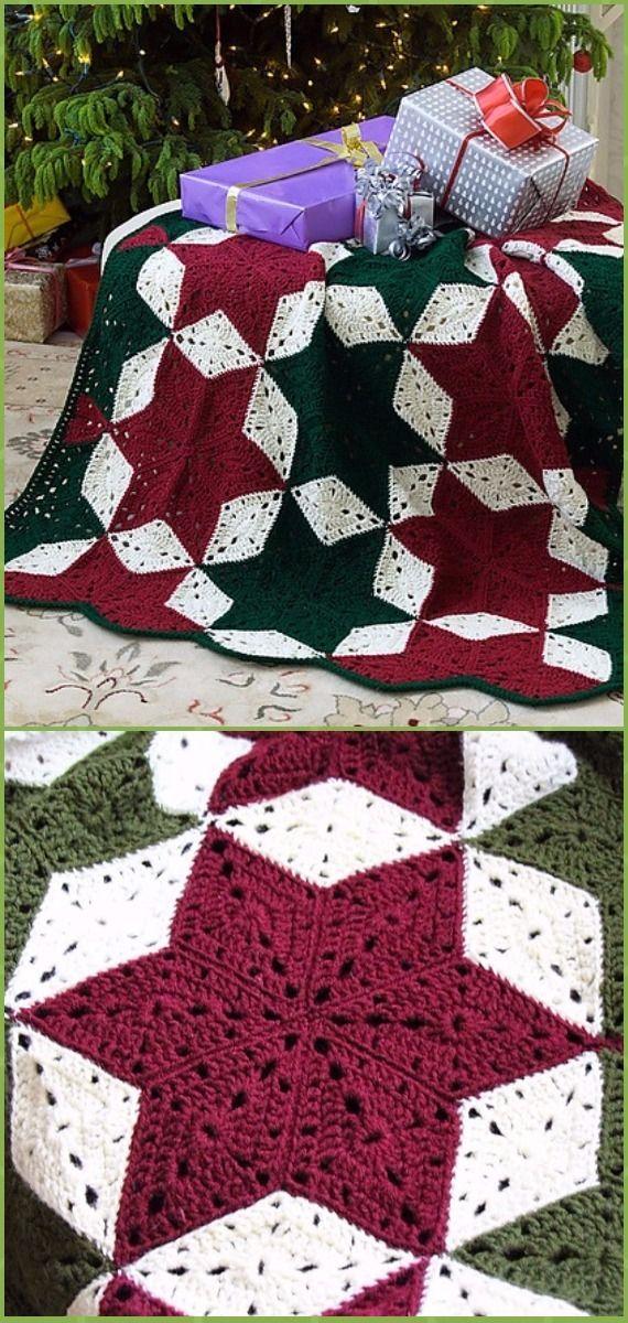 Crochet Christmas Star Throw Blanket Free Pattern - Crochet ...