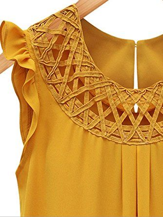 c1e9a5da6dda18 Choies Women s Chiffon Yellow Lattice Ruffle Trims Keyhole Back Sleeveless  Blouse Tops S at Amazon Women s Clothing store
