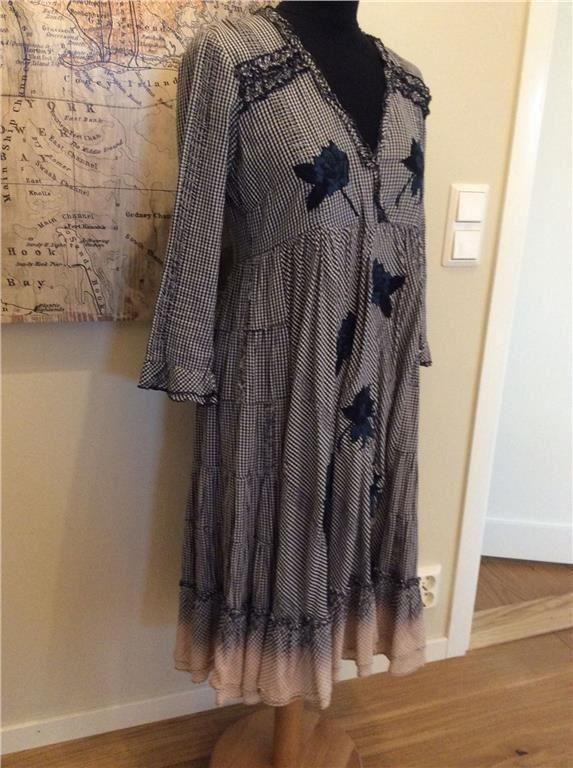 Odd molly klänning blå vit beige vintage #320 Saloon dress storlek 2 på