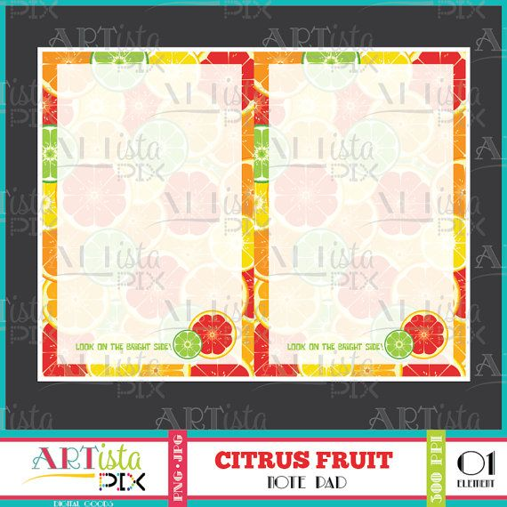 Citrus Fruit Note Pad Printable Note Pad Digital Note Pad