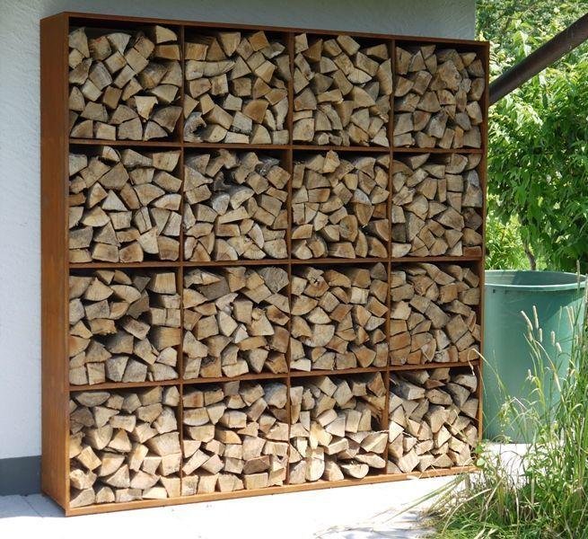 Superb Modern Outdoor Log Or Wood Storage In Interlocking Corten Steel .