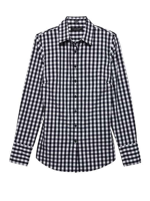 c0812694 Banana Republic Womens Riley Tailored-Fit Gingham Super-Stretch Shirt Navy