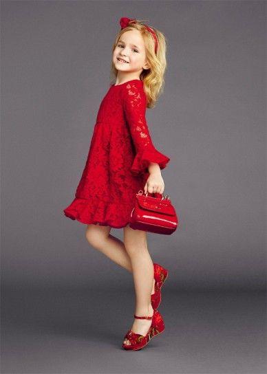 Abito rosso Dolce Vestiti Per Bambine Piccole b0422e10573