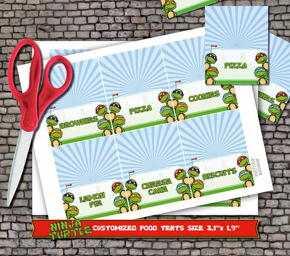 Personalized Teenage Mutant Ninja Turtle food label tent (digital file)  sc 1 st  Pinterest & Personalized Teenage Mutant Ninja Turtle food label tent (digital ...