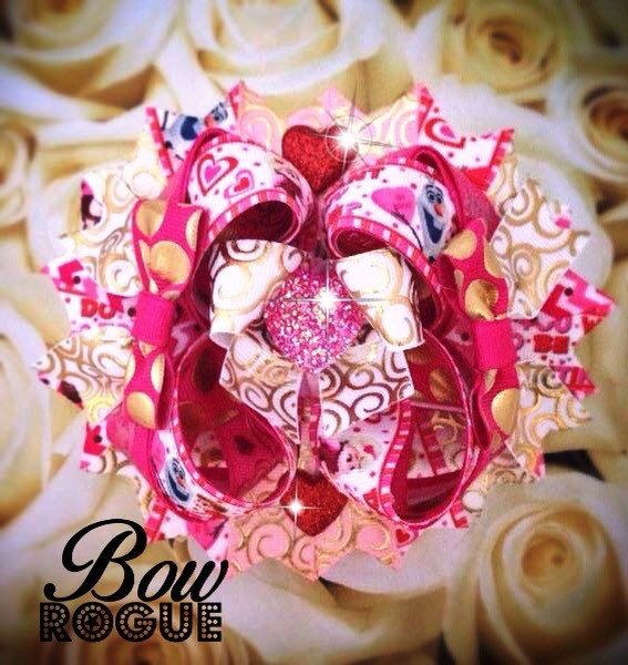 Over the Top Valentine's Day HairBow by BowRogue on Etsy