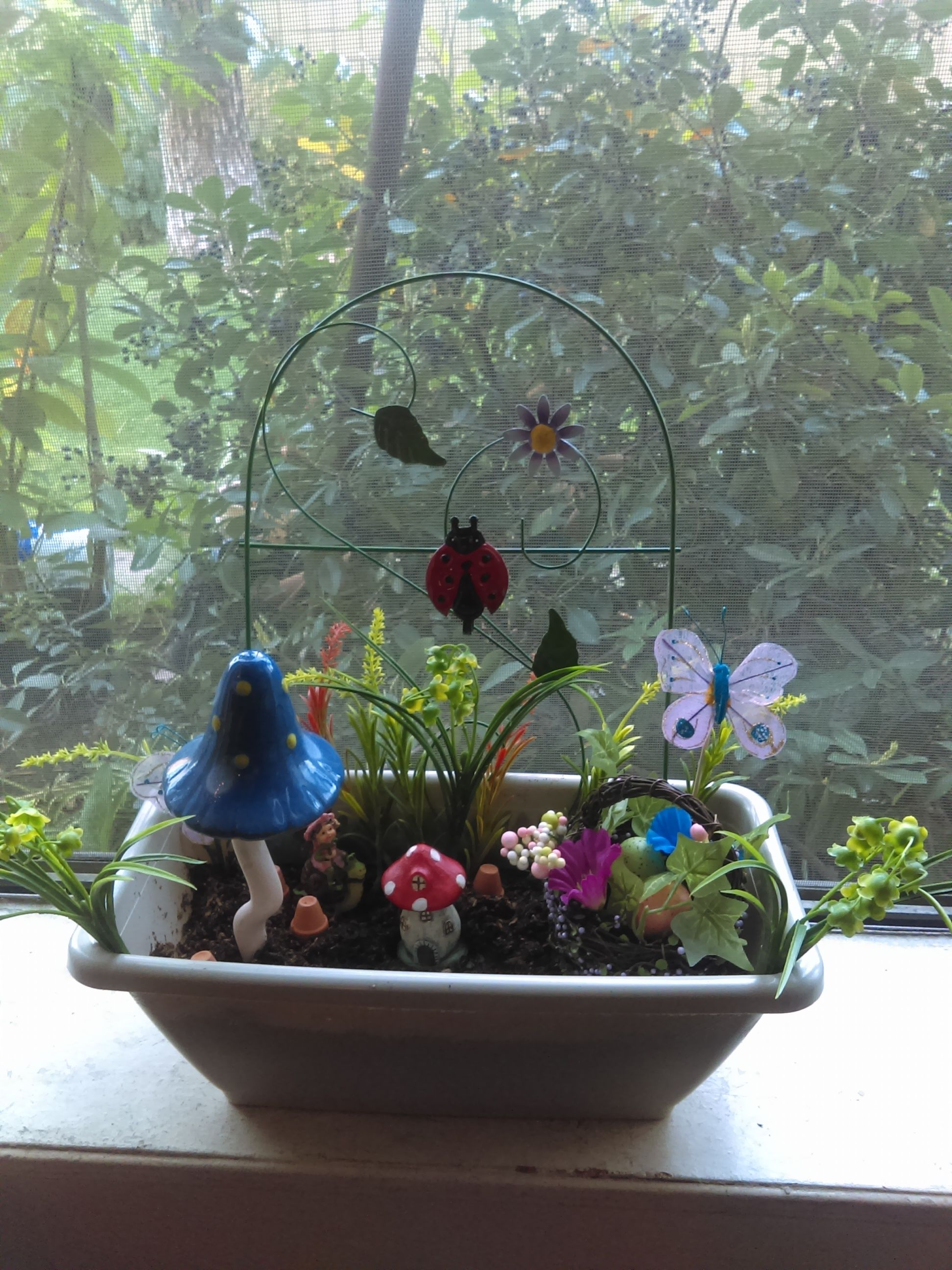 My Finished Mini Fairy Garden. All items from Dollar tree