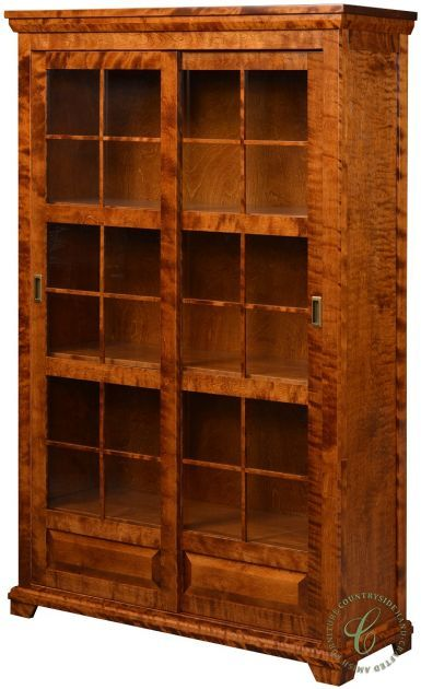 Granby Amish Sliding Door Bookcase Sliding Door Bookcase