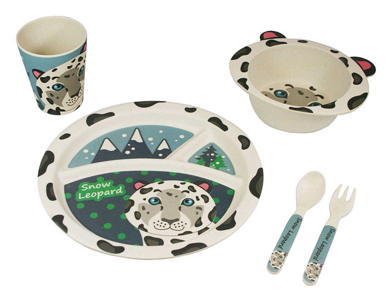 5-piece Bamboo Dinner Set EcoBamboo Ware Kids//Babies Owl Dinnerware Set