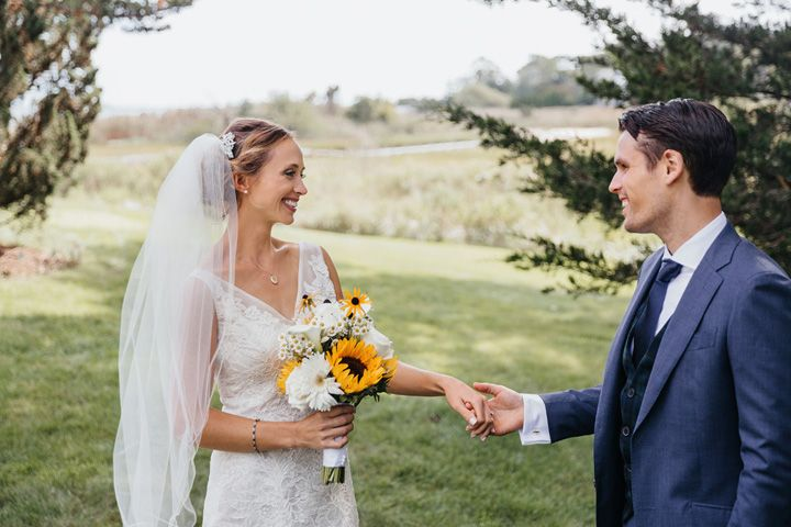 First look bride and groom wedding photo | fabmood.com #wedding #backyardwedding #fallwedding #sunflowerthemed