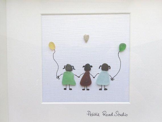 Sisters Pebble Art Gift Friends Pebble Art Seaglass Etsy Pebble Art Sea Glass Crafts Sea Glass Art