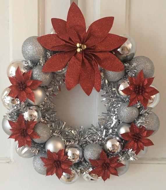 Silver Christmas Bauble Wreath #baublewreath