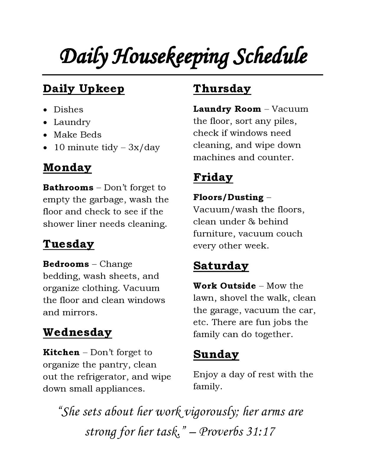 housekeeping schedule  chores for each day of the week and