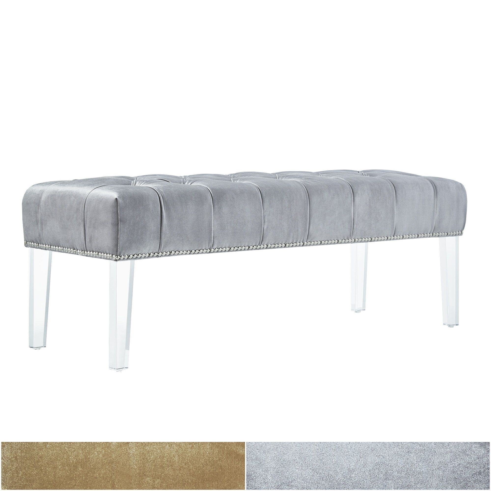 Anya velvet nailhead button tufted acrylic leg bench by inspire q overstock com shopping the best deals on benches
