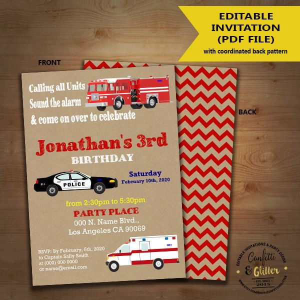 First Responders Birthday Invitation Firetruck Police Car Ambulance