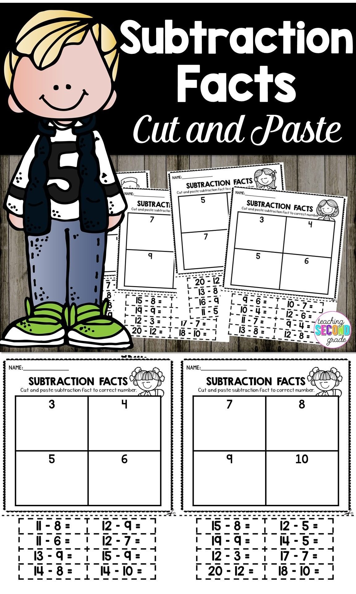 Subtraction Facts Printable Worksheets