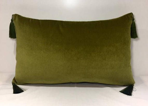 olive green pillows. Olive Green Velvet Pillow With Tassels, Pillows, Cover, Decorative Pillows N