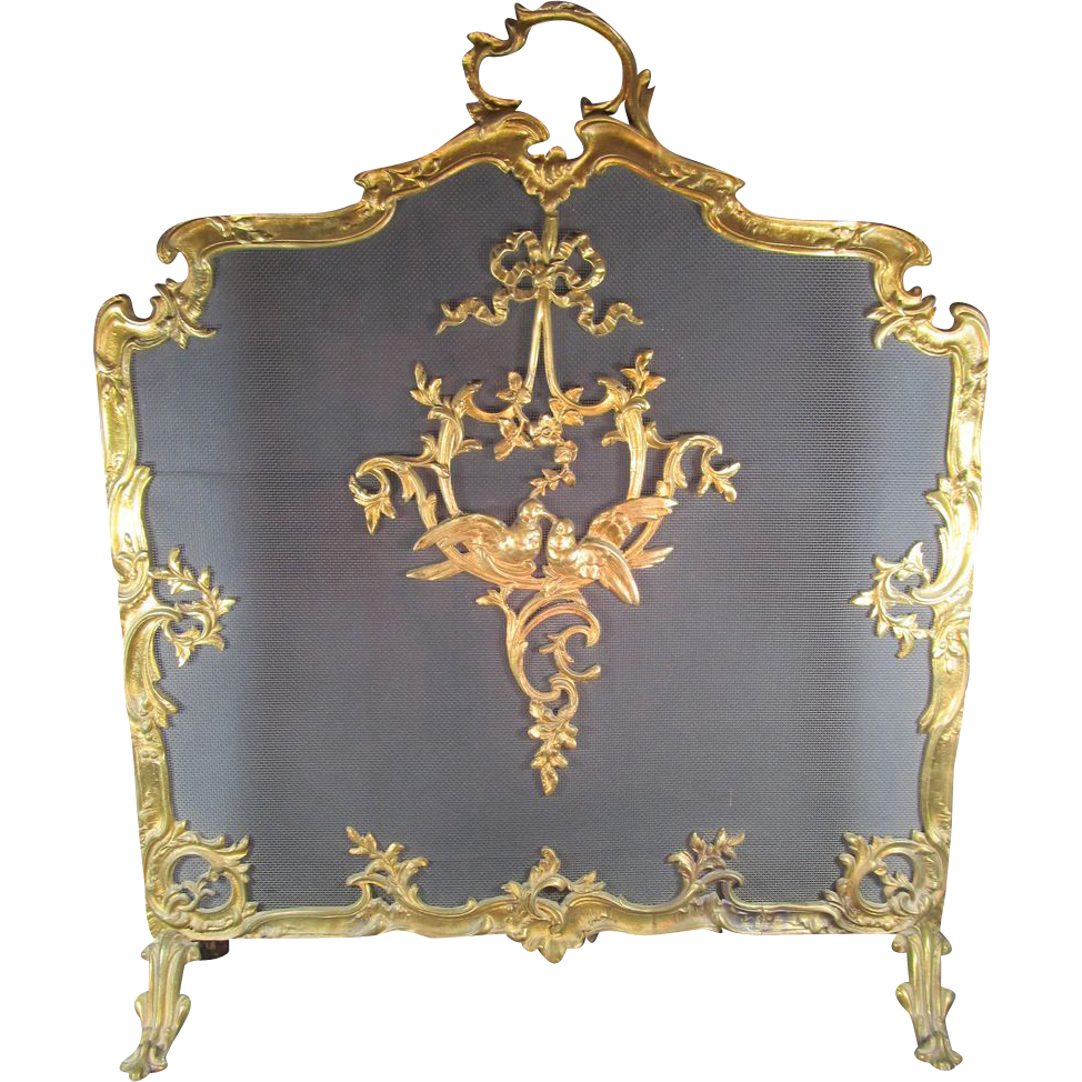 Antique Fire screen Gilt Bronze French Style from ...