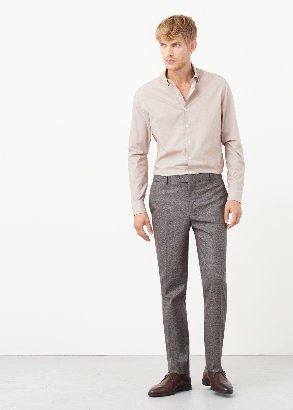 036cb1c8 Slim-fit patterned suit trousers - Men | Grey flannel trousers in ...