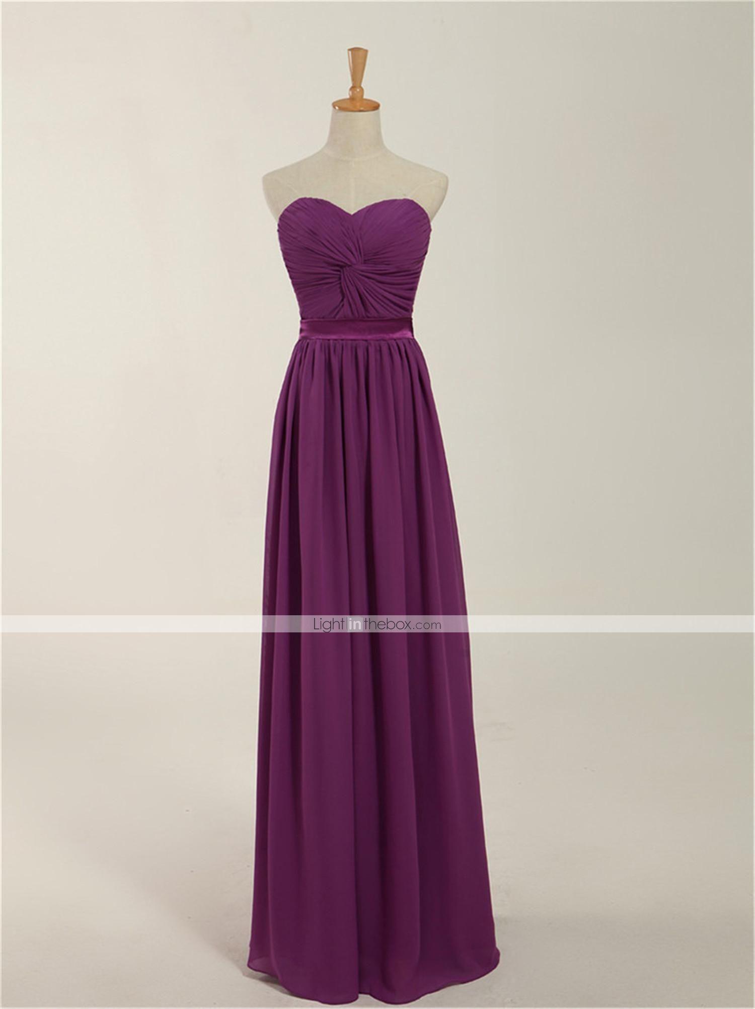 Vestido de dama de honor Corte Recto - Escote Corazón - Hasta el ...