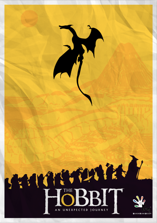 Minimalist Movie Poster Print Posteritty JRR Tolkien Dragon Smaug THE HOBBIT