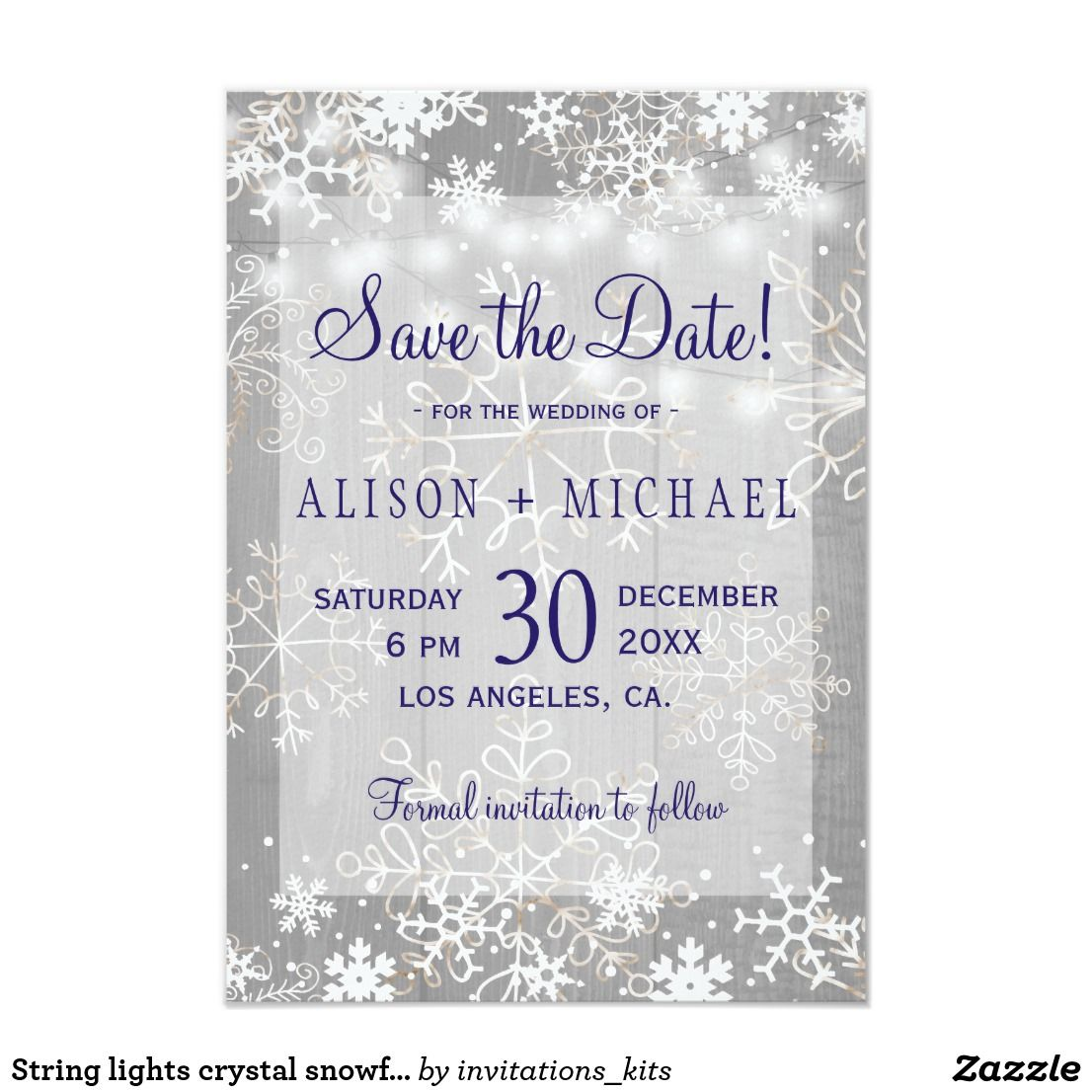 String lights crystal snowflakes save date wedding card | Navy ...